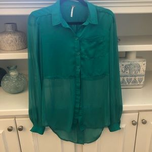 {Free People} Satin and Sheer Button Up Blouse